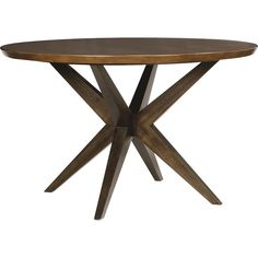 A lovely addition to a contemporary or midcentury-inspired dining room, this round table features a starburst base and butcher block-patterned top.