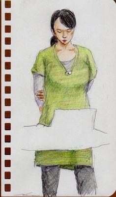 緑色のワンピースのお姉さん(会社でスケッチ)A sketch of the lady who put on a green One Piece dress. It was drawn by commuter train.