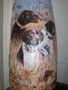 DECOUPAGE tile with dogs stella