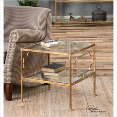 Uttermost Genell Gold Cube Table by Matthew Williams | The Simple Stores