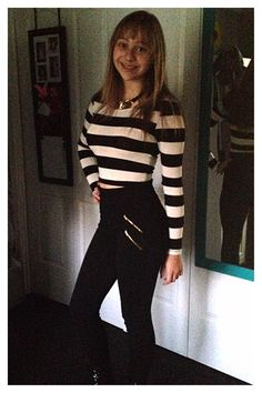 Black and white striped crop top high wasted black pants