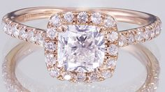 EGL USA H-VS2 14k White Rose Gold Cushion Cut Diamond Engagement Ring 1.60ctw by asparklingworld on Etsy
