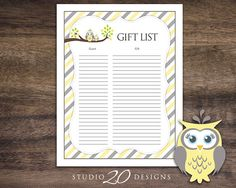 Instant Download Yellow Owl Baby Shower Gift by Studio20Designs