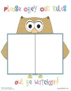 Classroom Freebies: Owl Rules Anchor Chart