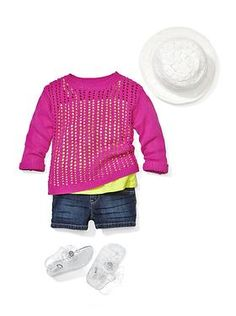 Square Tank with Neon Sweater, Denim Shorts, Jelly Sandals and Crocheted Fedora