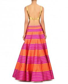 Pink and Orange Striped Lengha Set