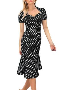 Polka Dots Stand Collar Mermaid Midi Dress Tight Fitted Dresses on buytrends.com
