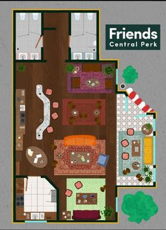 Check Out These Floor Plans From Your Favorite TV Businesses The Central Perk, Cooper Sterling Draper Pryce, Moe's Tavern, and more. Friends Show, Friends Cafe, Friends Moments, Friends Series, Friends Forever, Joey Friends, The Sims, Tv Show House, Friends Apartment