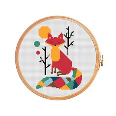 Fox with a colored tail - cross stitch pattern - cross-stitch baby forest tree sun a good mood pleased fox