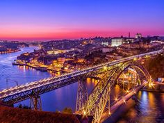 Bridge in Oporto, Portugal - Designed by Gustave Eiffel Gustave Eiffel, Douro Portugal, Portugal Travel, Porto City, Learn Brazilian Portuguese, Douro Valley, European Destination, Birds Eye View, During The Summer
