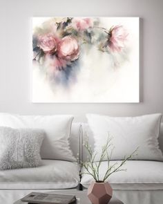 Pink Peonies Whimsical Fine Art Print, Flowers Botanical Pale Colors Watercolor Print, loose style flowers painting art, floral wall print - My CMS Watercolor Print, Watercolor Flowers, Watercolor Paintings, Art Paintings, Wall Prints, Painting Prints, Fine Art Prints, Painting Art, Peony Painting