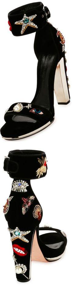 Alexander McQueen Embellished Velvet Ankle-Wrap Sandal: