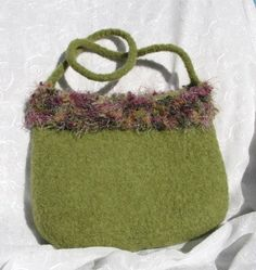 Felted Grass Green Purse/Handbag with lovely novelty by Susietoos, $40.00
