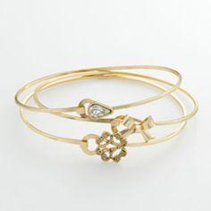 lc lauren conrad teardrop, filigree & bow bangle bracelet set