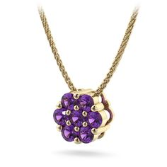 Cluster Round Amethyst Pendant in 14kt Yellow Gold.