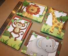 Set of 4 Mini Jungle Animal Safari Stretched Canvases Baby Nursery CANVAS Bedroom Wall Art - How freakin' cute! Bedroom Canvas, Nursery Canvas, Bedroom Art, Nursery Wall Art, Nursery Decor, Baby Bedroom, Safari Nursery, Nursery Themes, Nursery Ideas