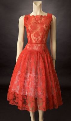 Beautiful 1950's red lace dress  Beautiful design for brides maids dresses in yellow or blue.