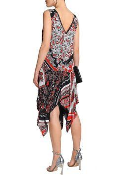 Asymmetric printed crepe dress | JUST CAVALLI | Sale up to 70% off | THE OUTNET
