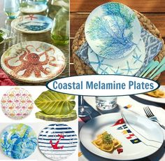Coastal and Nautical Melmaine Dinnerware and Plates  sc 1 st  Pinterest & Coastal u0026 Nautical Outdoor Dinnerware | Melamine dinnerware ...