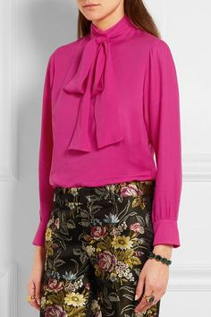 Fuchsia silk crepe de chine Button fastenings through back 100% silk Dry clean Made in Italy