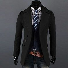 Men Coats And Jackets: Joobox Mens Casual Cotton Coat Winter