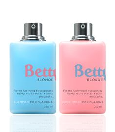 """""""Betty shampoo & conditioner is a product that brings out the best tones for specific hair types. Blonde, Brunette, Ginger and Noire. Instead of explaining the functionality of the product, which many of the competitors do, I decided to have fun with the copy and play around with stereotypes. The goal for Betty is to be fun, cheeky and smart."""