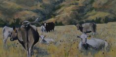 Hanft Cattle, Little Tongue Ranch by Sonja Caywood Oil ~  x