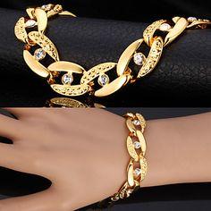 U7® Chunky Figaro Bracelets For Men  Women 18K Real Gold Plated Bangles Rhinestone Crystal Jewelry – USD $ 4.99
