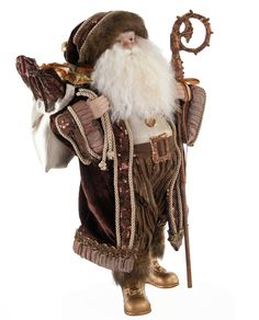 """Santa is keeping warm and cozy, delivering gifts, in his velvety brown attire. - Resin and fabric figure. - 15"""" tall. - Katherine's Collection. - Imported."""
