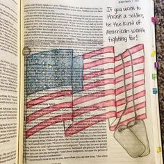 A little patriotic Bible journaling from customer Nikki Hahn for the Fourth of July weekend! #CreativeFaithCBD #FourthOfJuly
