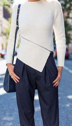 asymmetrical zip alexander wang sweater, navy pinstripe drapey cuffed band of outsiders pants, navy rebecca minkoff satchel, jimmy choo alia pumps  |  http://www.theclassycubicle.com/2014/10/zip-it.html