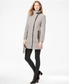 Calvin Klein Faux-Leather-Trim Asymmetrical Tweed Coat - Coats - Women - Macy's, MEDIUM
