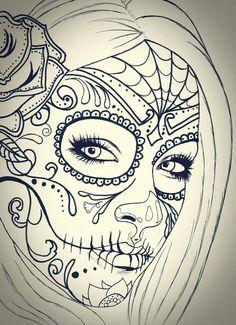 Skull girl sketch by carldraw on deviantart arte-calavera y Skull Candy Tattoo, Sugar Skull Girl Tattoo, Girl Skull, Candy Skulls, Dibujos Sugar Skull, Sugar Skull Mädchen, Tattoo Crane, Sister Tatto, Initial Tattoo