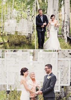 DIY outdoor ceremony backdrop using lace and frames  Magnolia Rouge: Forest Wedding by Alixann Loosle
