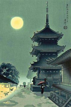 Benji Asada, Kiyomizu Temple in Misty Moon, 20th c.