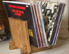 LP Vinyl Record Storage Stand/Rack in Solid Oak by VinylSap Vinyl Record Display, Record Rack, Vinyl Record Storage, Buy Vinyl Records, Lp Vinyl, Wood Wax, Oak Color, Colour, Solid Wood