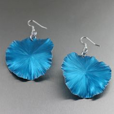 Handmade Blue Anodized Aluminum Lily Pad Earrings - Large - Makes a Cool 10th Wedding Anniversary Gift! - Handmade Jewelry by John S Brana