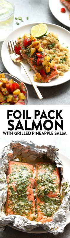 This Foil Pack Salmon with Grilled Pineapple Salsa needs to be the star of your next summer bbq. This healthy meal is made in under 30 minutes on the grill and full of fresh flavor!