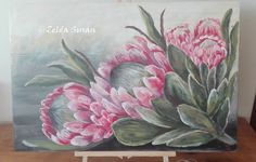 Pink Proteas on Wood canvas. Acrylic on washed grey background. Protea Art, Protea Flower, Mini Canvas Art, Wood Canvas, Small Paintings, Canvas Crafts, Acrylic Art, Fabric Painting, Botanical Illustration