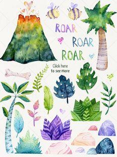 Thé Illustration, Dinosaur Illustration, Illustrations, Watercolor Artwork, Watercolor Animals, Watercolor Cards, Dinosaur Background, Book Background, Invitation Fete
