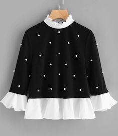 SHEIN Contrast Frill Trim Pearl Embellished Top Black and White Contrast Collar Three Quarter Length Flare Sleeve Blouse _ - AliExpress Mobile Version - Stand Collar Shirt, Embellished Top, Mode Hijab, Flare Pants, Look Chic, Mode Inspiration, Shirt Blouses, Blouses For Women, Black Tops