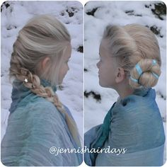 The two Elsa Hairstyles from Frozen by Jenni's Hairdays http://jennishairdays.wordpress.com/ #frozen #Elsa #hair #disney #lareinedesneiges #coronation #FrenchBraid #braid