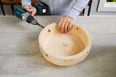 drill four equidistant holes around bowl