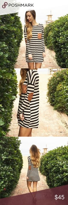 | new | elbow patch dress offers welcome new with tag striped t shirt dress with brown elbow patches and chest pocket. modeling size small. •571379• Dresses Long Sleeve