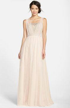Jim Hjelm Occasions Metallic Lace & Net A-Line Gown available at #Nordstrom-Black, Silver/Almond,Silver/Blossom, Silver/Pewter,Silver/Primrose -$260.00