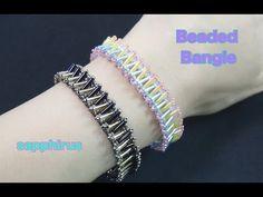 【ハンドメイド】竹ビーズで編むバングルの作り方 ビーズステッチ上級 How to make a bangle with bugle beads. - YouTube