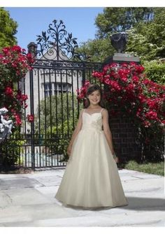 Organza Sweetheart Neckline With Spaghetti Shoulder Straps And A Line Skirt Fashion 2013 Flower Girl Dresses FL