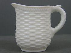 Atterbury 1874 Milk Glass Basketweave Pitcher