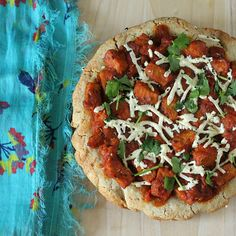 Tempeh Tikka Masala on Glutenfree Oat Rice Focaccia style Crust Pizza. #glutenfree #vegan