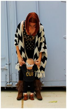 These cali mama and cali cub tees are adorable....perfect casual mommy and me outfit! And the matching fringe boots? Too cute!
